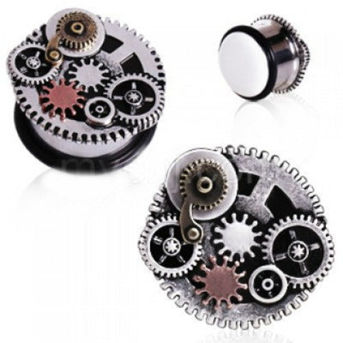 316L Surgical Steel Steampunk Gear Menagerie Plug - Fashion Hut Jewelry