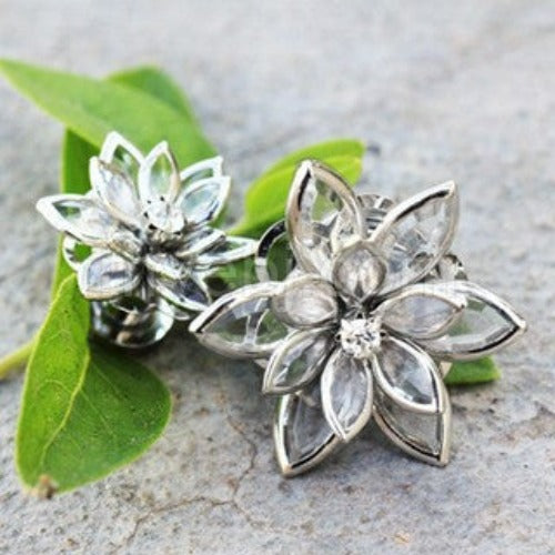 316L Stainless Steel Crystal Flower Screw Fit Plug - Fashion Hut Jewelry