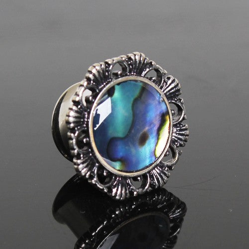 316L Stainless Steel Ornate Plug with Natural Abalone Inlay - Fashion Hut Jewelry