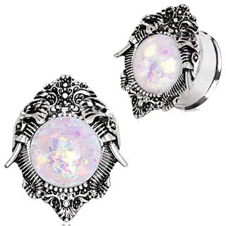 316L Stainless Steel Ornate Elephant Plug with Synthetic Opal Stone - Fashion Hut Jewelry