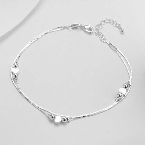 HOT Heart Anklet 925 Sterling Silver Women Anklet Ankle Bracelet - Fashion Hut Jewelry