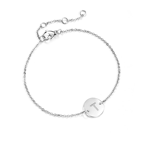 Initial Disc Monogram Charm Anklet Ankle Bracelet - Fashion Hut Jewelry