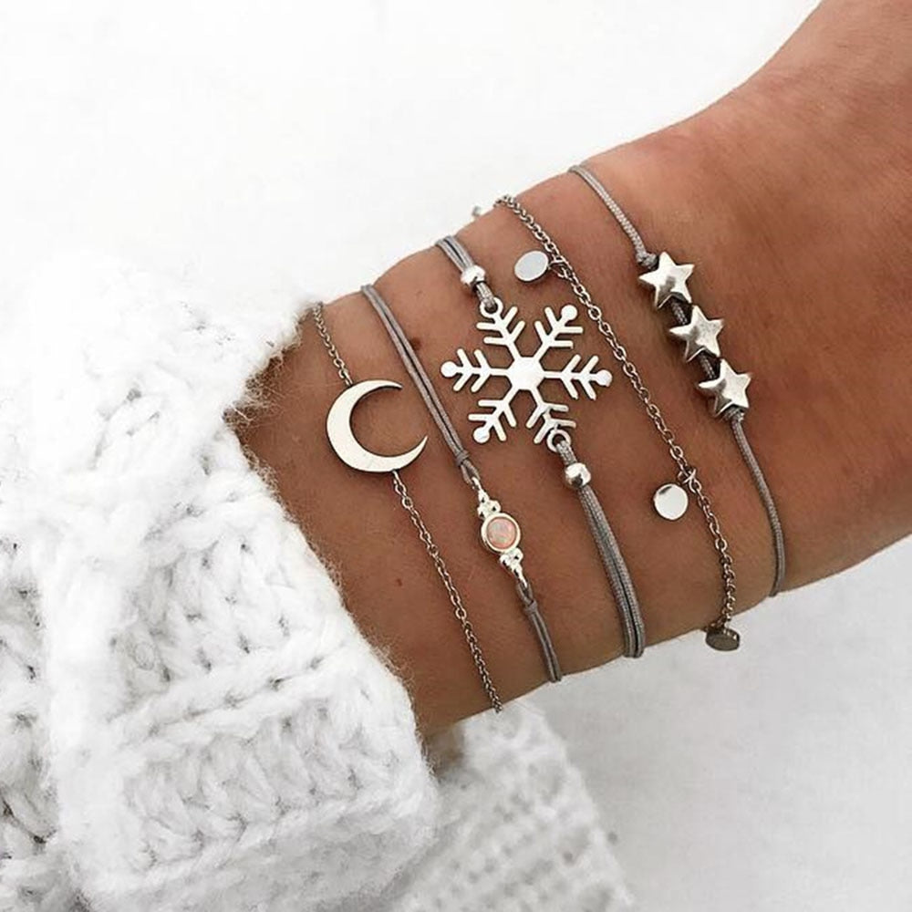 Bohemian Star Moon Snowflake Opal Bracelet Set - Fashion Hut Jewelry