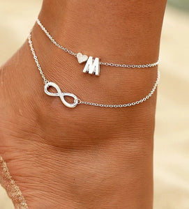 Boho Infinity Double Chain Initial Anklet Ankle Bracelet