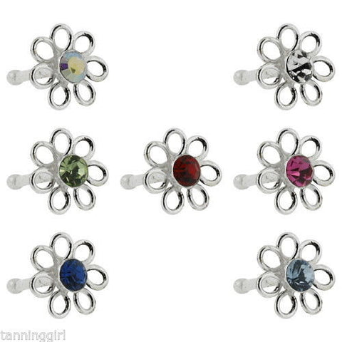 20 Gauge Nose Bone Sterling Silver Flower - Prong Set - Fashion Hut Jewelry