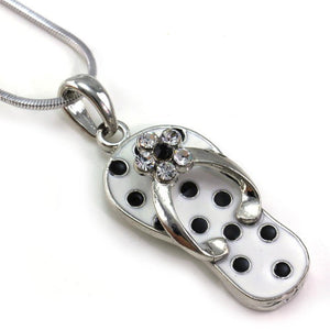 Black White Polka Dot Sandal Flip Flop Necklace - Fashion Hut Jewelry