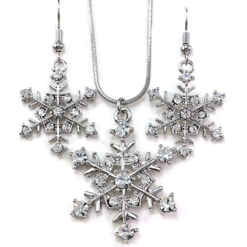 Snowflake Winter Clear Crystal Necklace Earring Set - Fashion Hut Jewelry