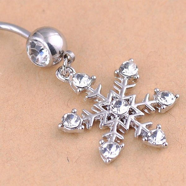 Snowflake Crystal Navel Belly Button Ring - Fashion Hut Jewelry