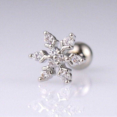 Snowflake Cartilage Earring / Christmas CZ Snowflake Tragus - Fashion Hut Jewelry
