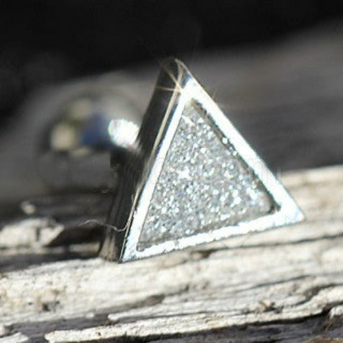 316L Stainless Steel CZ Dust Triangle Cartilage - Fashion Hut Jewelry