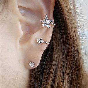 Star Shape Ear Cuff Crystal Wrap Earring Set - Fashion Hut Jewelry