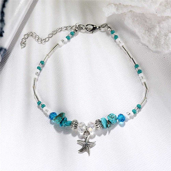 Boho Crystal Starfish Anklet - Fashion Hut Jewelry