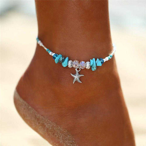 Boho Crystal Starfish Anklet Ankle Bracelet - Fashion Hut Jewelry