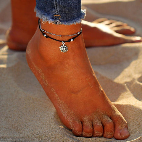Vintage Boho Multi Layer Sun Anklet Ankle Bracelet - Fashion Hut Jewelry