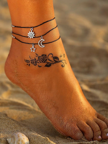 Sun Moon Star Bohemian Triple Layered Anklet Ankle Bracelet - Fashion Hut Jewelry