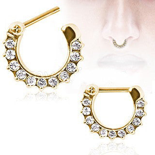 Gold Plated Gemmed Septum Clicker - Fashion Hut Jewelry