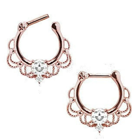 Rose Gold Plated 316L Stainless Steel Made For Royalty Ornate Septum Clicker - Fashion Hut Jewelry