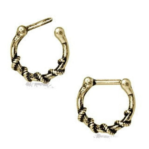 Rope Wrapped Antique Gold Plated Septum Clicker - Fashion Hut Jewelry
