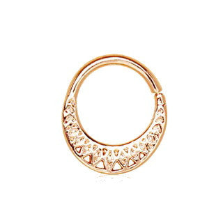 Rose Gold Plated Made for Royalty Annealed Tribal Septum Ring - Fashion Hut Jewelry