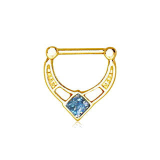 Gold Plated Blue Epoxy Rhombus Septum Clicker - Fashion Hut Jewelry