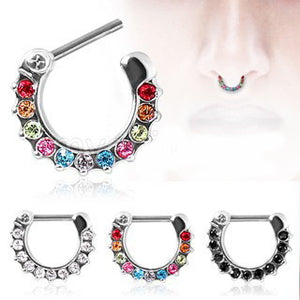 316L Surgical Steel CZ Gemmed Septum Clicker - Fashion Hut Jewelry
