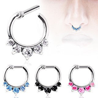 316L Surgical Steel Gemmed Princess Septum Clicker - Fashion Hut Jewelry
