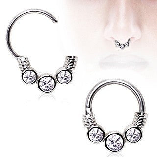 316L Surgical Steel Gemmed Trio Septum Clicker - Fashion Hut Jewelry