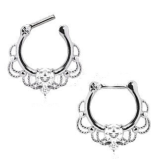 316L Stainless Steel Made For Royalty Ornate Septum Clicker - Fashion Hut Jewelry