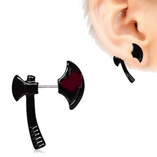 Black PVD Plated Axe Fake Taper / Cartilage Earring - Fashion Hut Jewelry