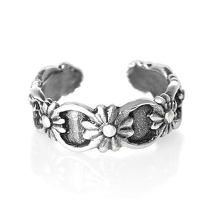 Flowers Sterling Silver Toe Ring - Fashion Hut Jewelry