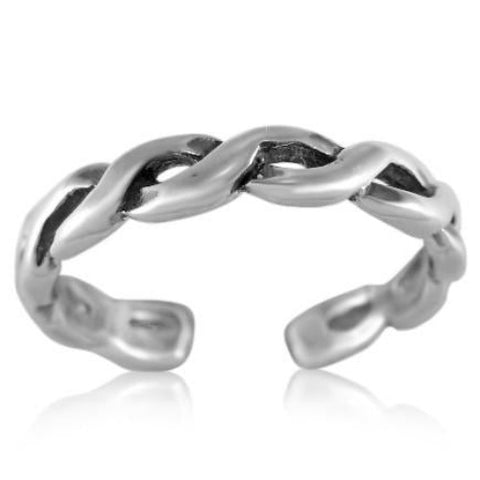 Modern Twist Braid Sterling Silver Toe Ring