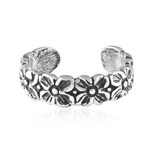 Retro Flower Adjustable Sterling Silver Toe Ring - Fashion Hut Jewelry