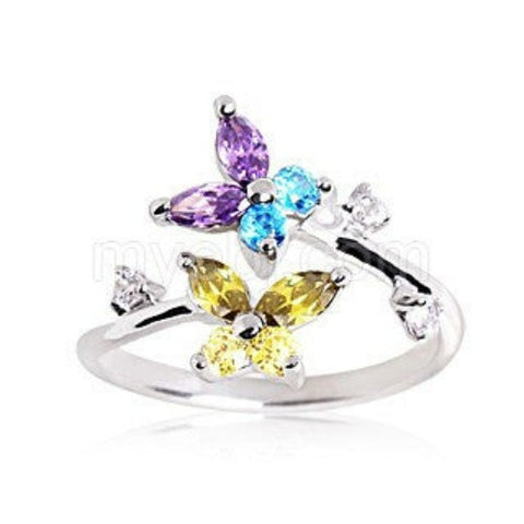 .925 Sterling Silver Multi Color CZ Butterflies Toe Ring - Fashion Hut Jewelry