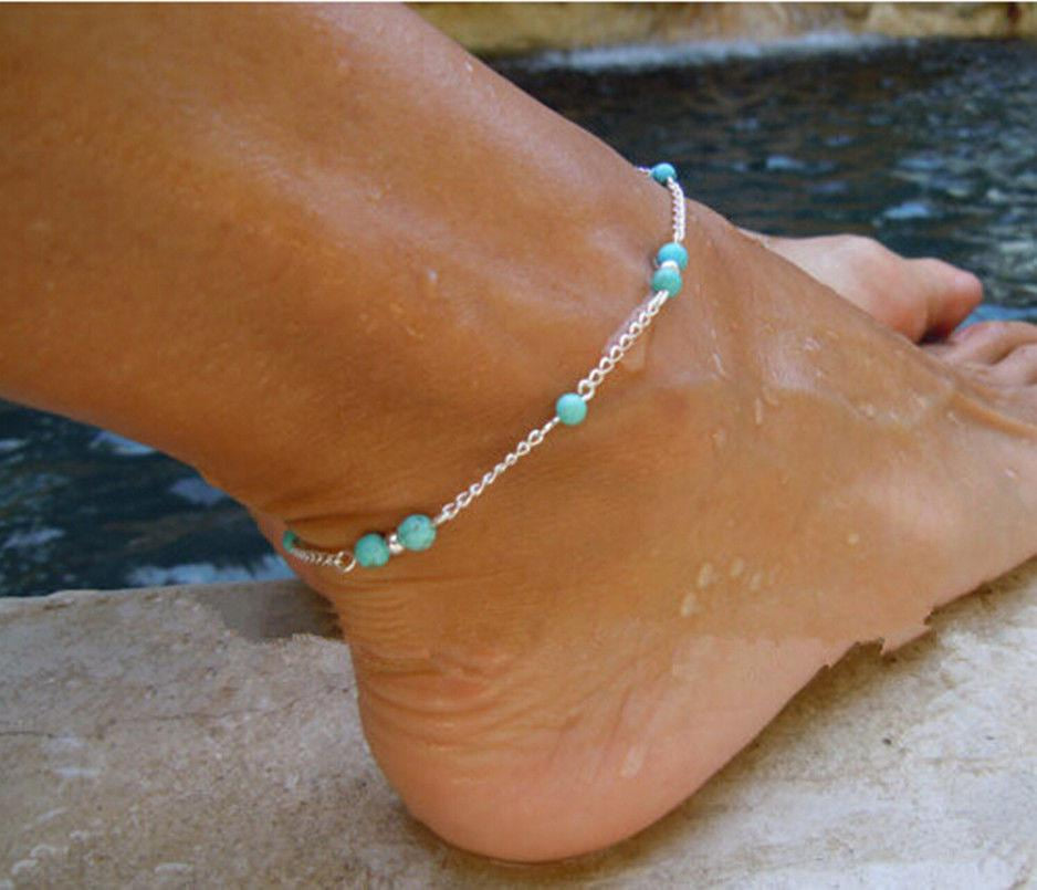 Simple & Sexy Silver & Turquoise Beaded Anklet - Fashion Hut Jewelry