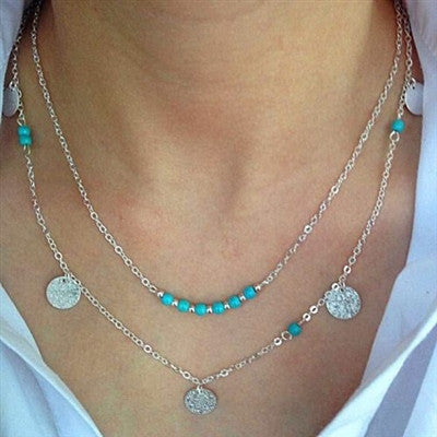 Turquoise Multi layer Necklace Set with Hammered Disc Pendants - Fashion Hut Jewelry