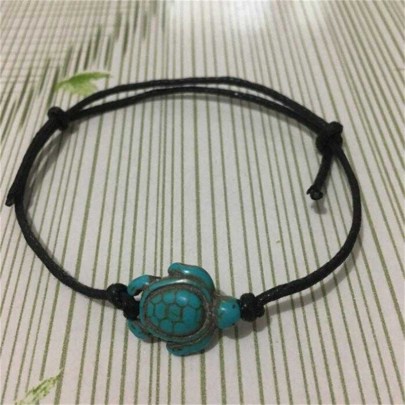 Carved Boho Turquoise Turtle Anklet