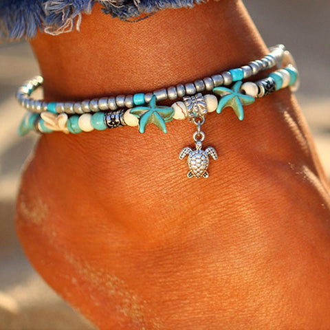Vintage Double Beaded Turtle Starfish Boho Anklet