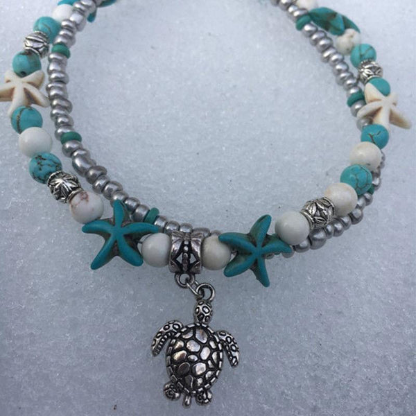 Vintage Double Beaded Turtle Starfish Boho Anklet - Fashion Hut Jewelry