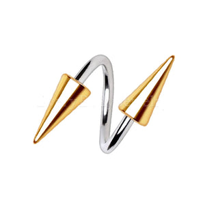 316L Stainless Steel Gold Plated Spike Twist - Fashion Hut Jewelry