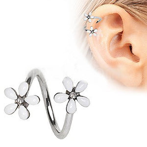 316L Stainless Steel White Wild Flower Twist Cartilage - Fashion Hut Jewelry