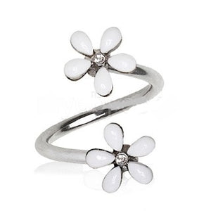 316L Stainless Steel White Wild Flower Twist Jewelry - Fashion Hut Jewelry