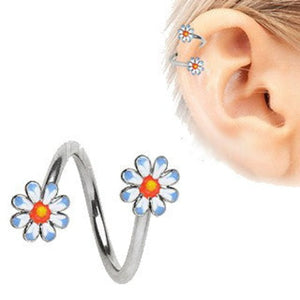 316L Stainless Steel Daisy Flower Cartilage Twist Jewelry - Fashion Hut Jewelry