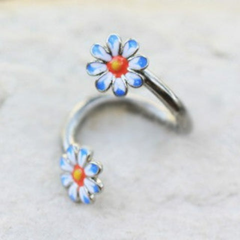 316L Stainless Steel Daisy Flower Twist Navel Jewelry - Fashion Hut Jewelry
