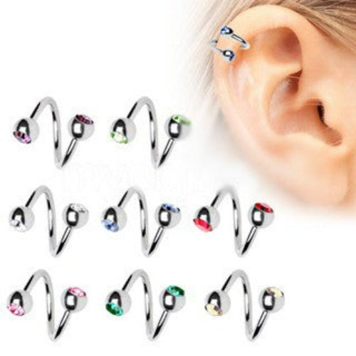 316L Surgical Steel Twist with Gemmed Balls | Fashion Hut Jewelry