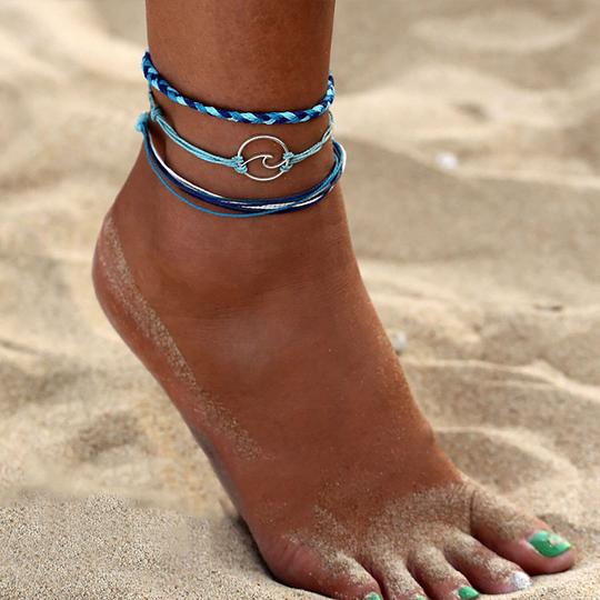 3PCS Boho Turquoise Sea Wave Anklet Ankle Bracelet - Fashion Hut Jewelry