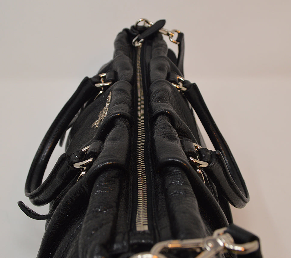 Prada Black Leather Glitter 2 Way Bag