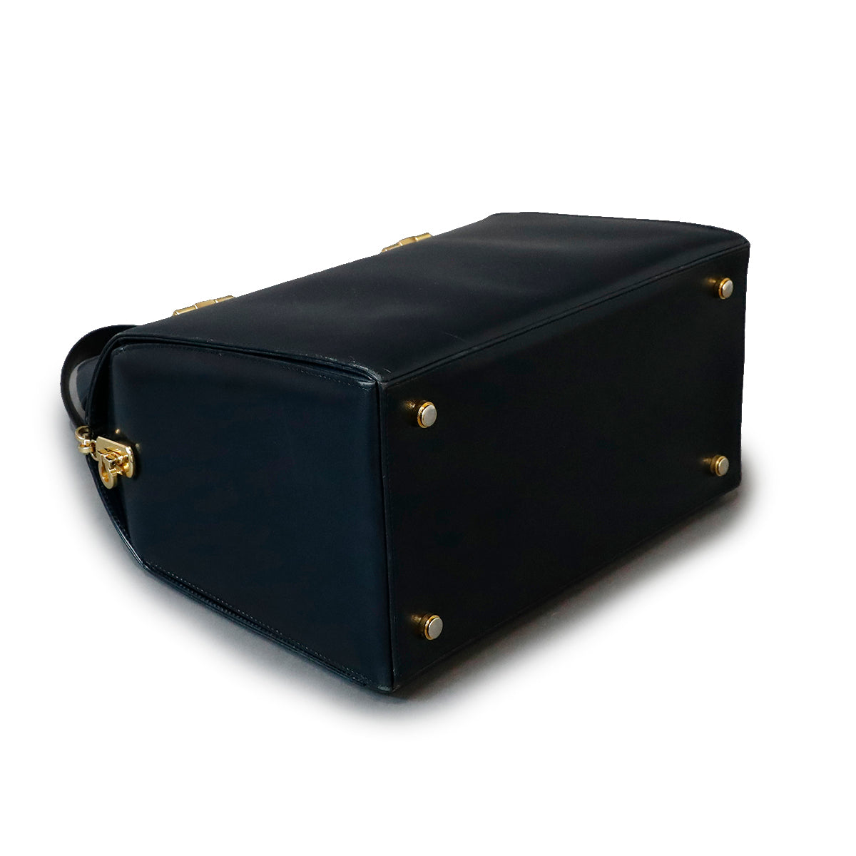 Ferragamo Black & Gold Mini Duffle Bag