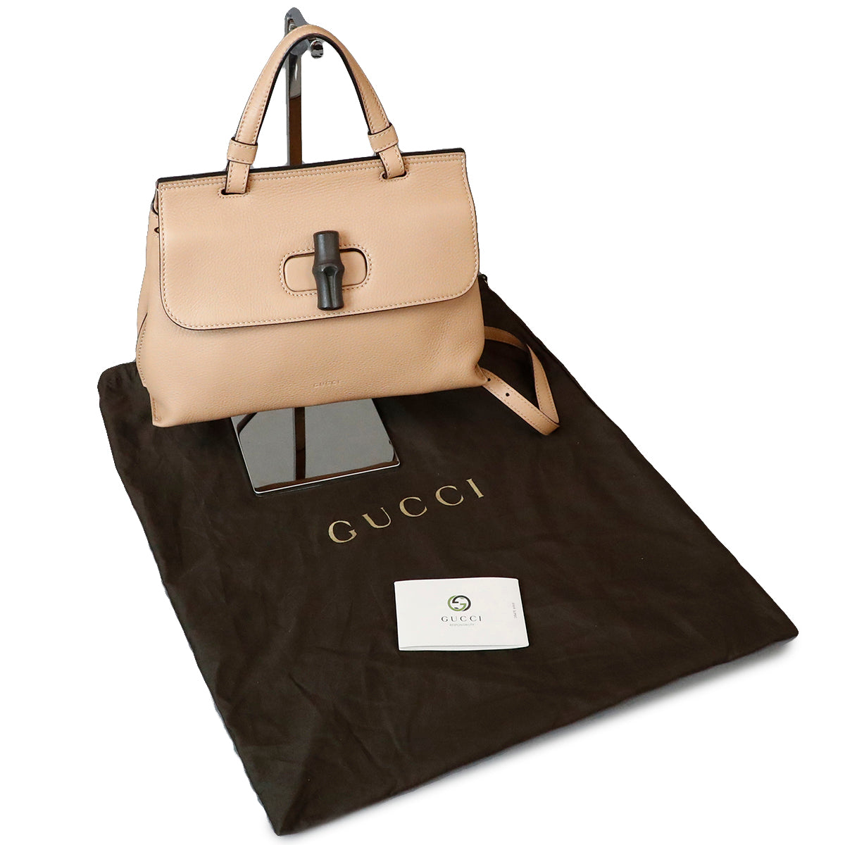 Gucci Cream Bamboo Fold Over 2 Way Bag