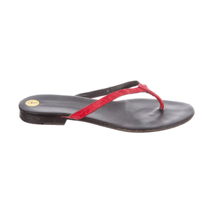 Gucci Red Leather Thong Sandals - 7