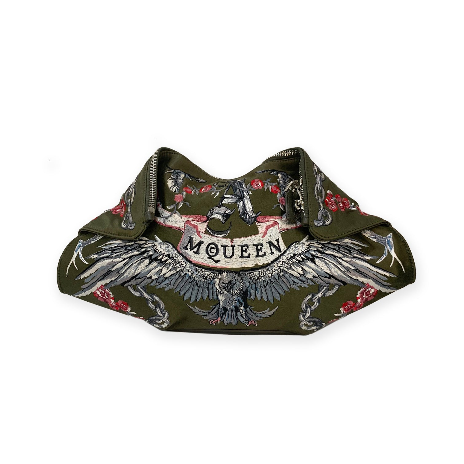 Alexander McQueen Olive Green Embroidery Clutch